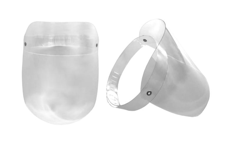 Máscara em acrílico ou face shield para prevenção contra a Covid-19